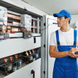 Electrician worker inspector — Stock Photo