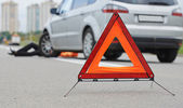 Accident. knocked down pedestrian — Stock Photo
