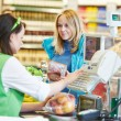 Shopping. Check out in supermarket store — Stock Photo
