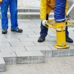 Sidewalk pavement construction works — Stock Photo #35860617