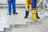 Gehweg pflaster-bauarbeiten — Stockfoto