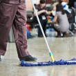 Cleaning public hall floor — Stock Photo