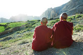 Two Indian tibetan monk lama — Stock Photo