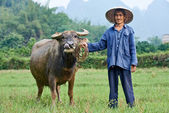 Chinese agricultural farm worker — Stock Photo