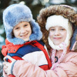 Kids children at winter outdoor — Photo #36625421