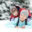 Mother with child boy son at winter — Stock Photo #36876765
