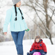 Stock Photo: Mother with child boy son at winter