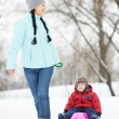 Mother with child boy son at winter — Stock Photo #36876785