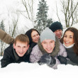 Group of happy young people in winter — Stock Photo