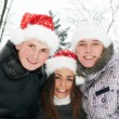 Group of happy young people in winter — Foto Stock #36876849