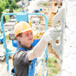 Facade builder plasterer at work — Stock Photo #37051351
