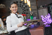 Waitress girl of commercial restaurant — Stock Photo