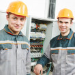 Stock Photo: Happy electriciengineer workers