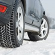 Winter tyres wheels installed on suv car outdoors — Stok fotoğraf