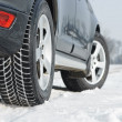 Winter tyres wheels installed on suv car outdoors — Stock Photo #41163229