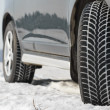 Winter tyres wheels installed on suv car outdoors — Foto Stock