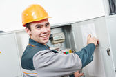 Happy electrician engineer worker — Stock Photo