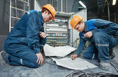 Two electrician workers — Stock Photo