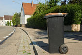 Recycling garbage or waste bin in small city — Stock Photo