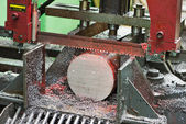 Close-up process of metal machining by saw — Stock Photo