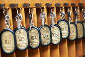 Hotel keys in cabinet — Stok fotoğraf