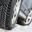 Winter tyres wheels installed on suv car outdoors — Stock Photo