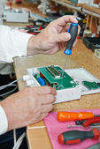 Microchip assembling manufacture — Stock Photo