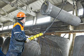 Concrete tube production — Stock Photo