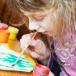 Girl painting in preschool — Stock Photo