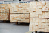 Wood lumber materials at plant — Stock Photo