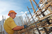 Construction worker making reinforcement — Stock Photo