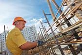 Construction worker making reinforcement — Stock Photo
