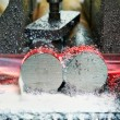 Close-up process of metal machining by saw — Stock Photo #44105849