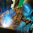 Welder at factory workshop — Stock Photo