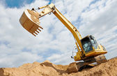 Excavator loader at earthmoving works — Stock Photo