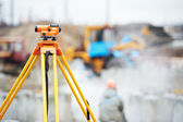 Surveyor equipment optical level outdoors — Stock Photo