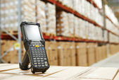 Barcode scanner at warehouse — Stock Photo