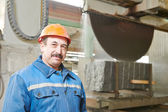 Worker on granite manufacture — Stock Photo