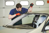 Windshield windscreen replacement works — Stock Photo
