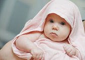 Newborn baby after bathe — Stock Photo