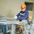 Power electrician lineman at work — Stock Photo #44985359
