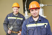 Electricians workers — Stock Photo