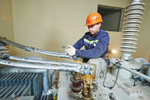 Power electrician lineman at work — Zdjęcie stockowe