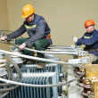 Power electrician lineman at work — Stock Photo #45666637