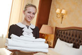 Chambermaid at hotel service — Stock Photo