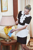Chambermaid at hotel service — Stock Photo