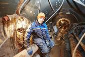 Undeground working in tunnel — Stock Photo