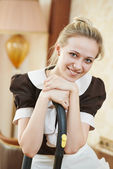 Housemaid portrait at hotel service — Stock Photo