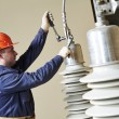 Power electrician lineman at work — Stock Photo #45999865