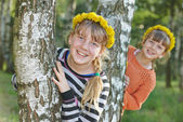 Laughing girls outdoors — Stock Photo